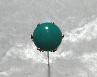 Emerald Green Glass & Brass Hatpin, Antique Art Nouveau Floral 6 in. Fur Scarf or Sweater Stickpin, FREE SHIPPING