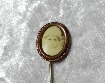 Victorian Baby Photo Stickpin, Sepia Photograph, Little Boy or Girl, 2-3/4 in, Antique Oval Brass Women's Hat Pin, FREE SHIPPING
