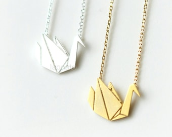 Origami Swan Necklace / choose your color, gold and silver