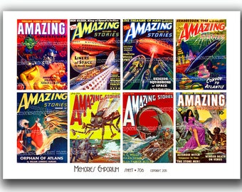 Sci Fi Magazine Covers Comics Retro Futuristic Pulp Science Fiction Trash Novels Digital Paper Clipart Kitsch Printable Download 706