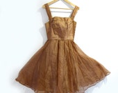 Vintage 1950s embroidered and beaded light brown organza and net full skirt prom dress sz XS