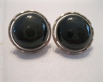 Vintage Sterling Silver and Black Onyx Earrings