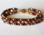 Elegant Beadweaving Bracelet, Russet Crystals, Luster Pink Fire Polish Crystals, Gold Swarovski Pearls,Amy Johnson Designs BF2097