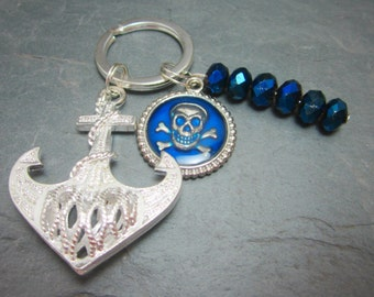 Pirate Keychain Large Silver Anchor Skull and Crossbones Charm Jolly Roger Navy Blue Rondelles