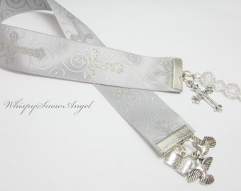 Christian Ribbon Bookmark Confirmation Baptism Bookmark Sparkle Cross Ribbon Cross Doves Open Book Charms Clear Beads