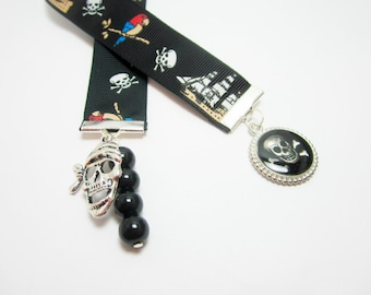 Pirate Ribbon Bookmark Jolly Roger Pendant Pirate Skull Charm