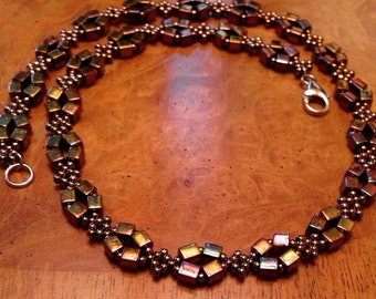 Bronze bead necklace, seed bead bronze necklace, bronze beaded necklace, bronze bead necklace, beaded jewelry