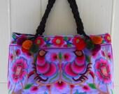Thai Hmong handbag-Embroidered Bag-Boho Tote Bag-Hilltribe Bag-Hmong Shoulder Bag-Thai Tote Bag-Ethnic Handbag-Bohemian bag