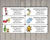 Dr. Seuss Address Label Sticker Set, Avery Template for Avery Address Labels, Address Stickers, Dr Seuss Characters, Printable