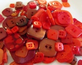 25 Red Square Buttons Grab Bag Assorted Multi Size Crafting Sewing Buttons