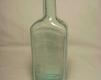 c1880s Hood's Sarsaparilla C. I. Hood Co. Lowell, Mass. , Aqua Blown Glass Medicine bottle No. 12