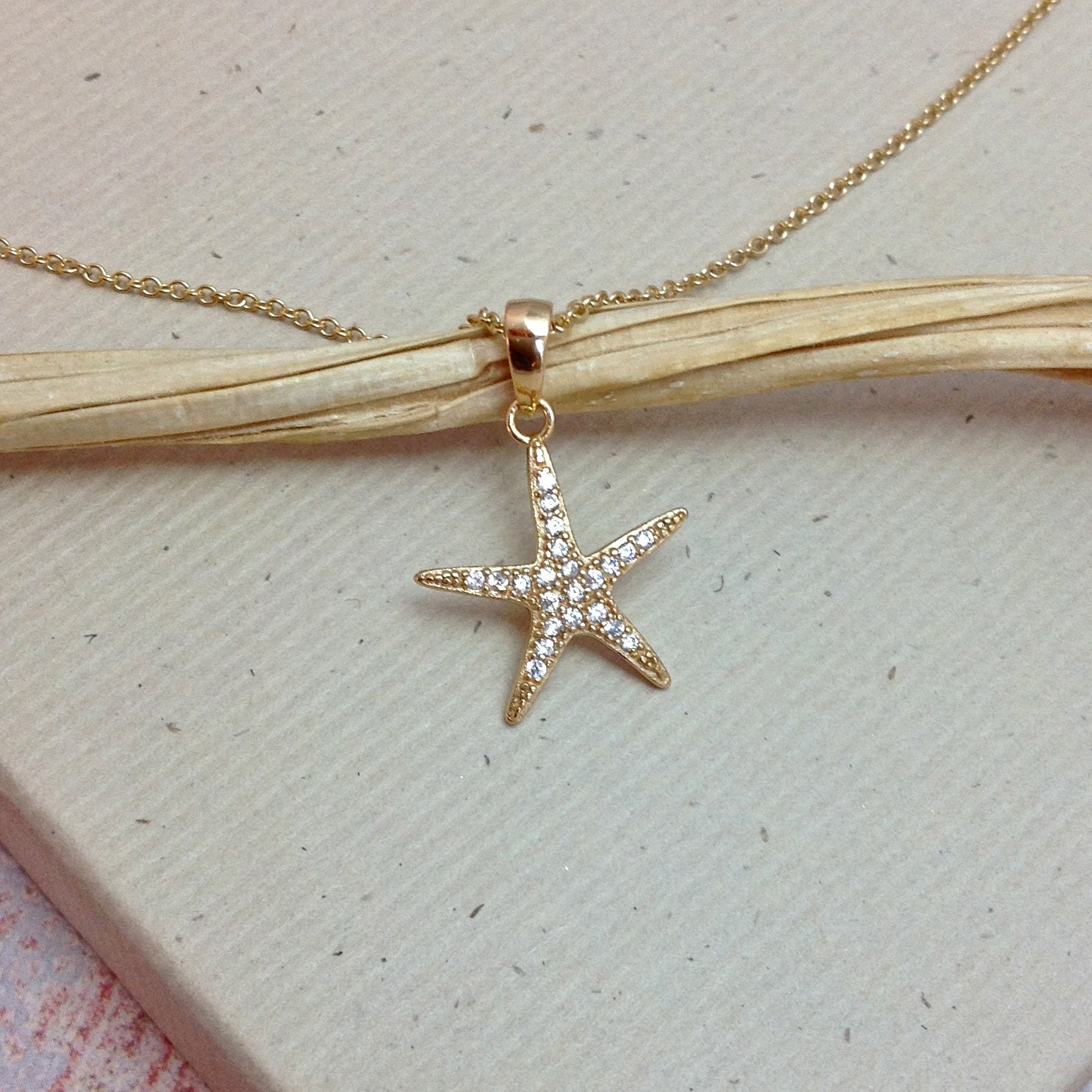 Starfish Necklace Gold Star Fish Cz Cubic By Wendyshraydesigns