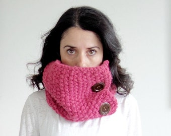 Chunky Knit Cowl Neck Warmer with Wood Buttons Wrap in Raspberry/THE SAUBLE
