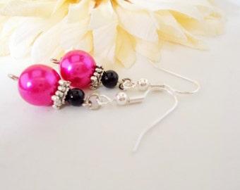 Bright Pink Earrings, Pink Pearl Earrings, Magenta, Pink and Black Earrings, Prom, Bridal, Renfaire, Black Czech Glass Earrings