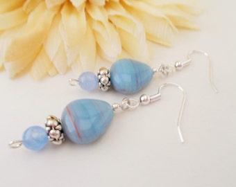 Vintage Blue Czech Glass Earrings, Frozen Blue Earrings, Blue Agate Earrings, Light Blue Earrings, Cobalt Blue Earrings, Sky Blue Earrings