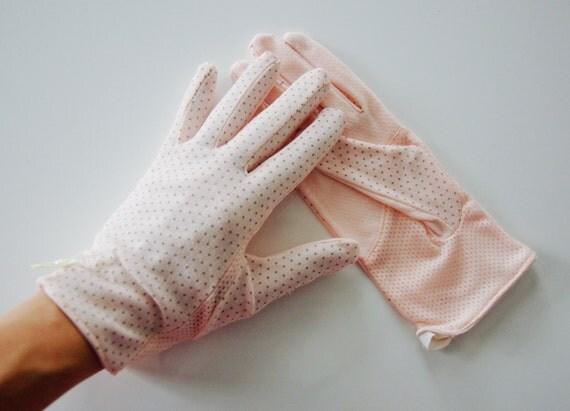 1950s Sewing Patterns   Swing and Wiggle Dresses, Skirts Ellie Pink/Gray Ellie Polka Dot Sun Gloves $22.50 AT vintagedancer.com