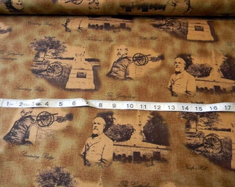 Gettysburg Generals and Cannons Battlefields Brown premium cotton fabric from Quilting Treasures