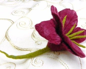 Dark Pink Purple Hand Felted Flower Corsage/ Pin Lily Gifts for Women Teacher