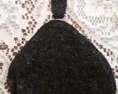 Vintage Black Beaded Finger Purse Evening Handbag