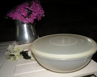 Large Vintage Tupperware Mixing Bowl Clear with Lid