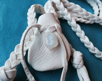 White Medicine Bag with Gem Moonstone, White Deerskin, Moonstone Pouch