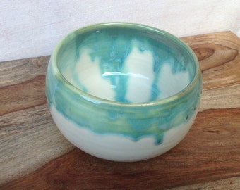 Handmade Pottery Soup Bowl Ceramic Single Bowl in White and Teal Perfect for Salad, Soup, or Snacks