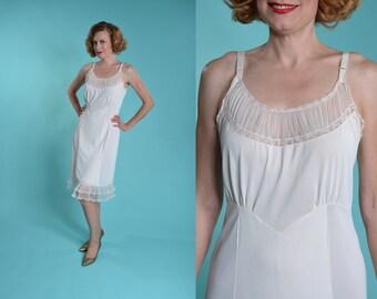 Vintage 1950s Sans Souci Slip - White Lace Full Slip - Lingerie Fashions Size 36