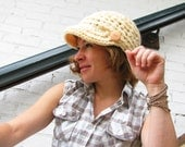 Brain Bean - Cream Cloud - large crochet cap with brim and 2 big peach buttons, unisex