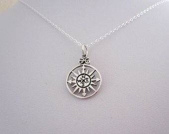 Cutout COMPASS disc coin sterling silver charm necklace, bon voyage, travelers necklace