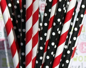 50 Red and Black BIrthday Party Straws, Mickey Mouse Birthday Straws, Pirate Party Straws, Ladybug Straws