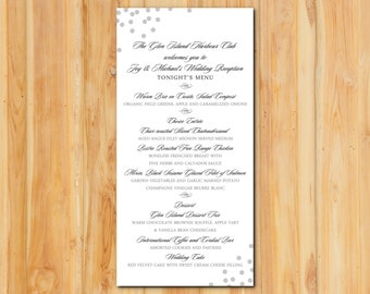 Silver Confetti Wedding Menu 50qty , Shimmer Metallic Silver Wedding Event Reception Menu Personalized Wedding Table Setting Custom Designed