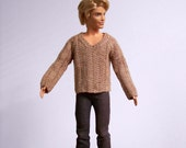 Male Fashion Doll Sweater, Hand Knit Doll Sweater, Knitted Male Doll Sweater