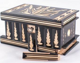 Puzzle Box Secret Compartment Jewelry Trinket Case Lock Hidden Stash Wood