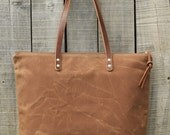 Waxed Canvas Tote Bag // Zipper Top // Leather Straps // SAHARA