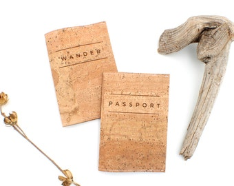 Cork Passport Covers - Laser Engraved Eco Friendly, Vegan Unisex Travel Accessories