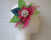 Hot Pink & Lime PEACOCK Fascinator, Feather Wedding Fascinator, Bridal Head Piece, Bridal Kanzashi Hair Flower, Magenta, Lime Green