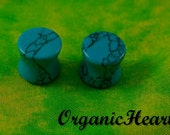 """Turquoise Double Flare Plugs 8g-1"""" (Sold as Pair) Handmade Body Jewelry (8g, 6g, 4g, 2g, 0g, 00g, 7/16"""", 1/2"""", 9/16"""", 5/8"""", 3/4"""", 7/8"""", 1"""")"""