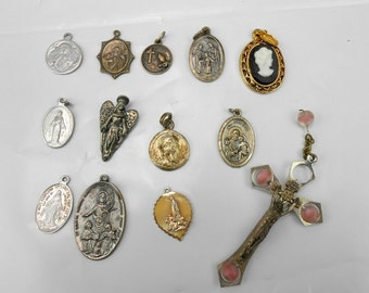 Vintage religious medals holy medals Saint medals religious memorabilia