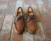 VTG Mens 14 Rustic Brown Leather Sperry Top-sider Loafers Boat Shoes Deck Shoes Woven Shoe Moccasin Beach Shoes Prep Hipster Spring Fashion