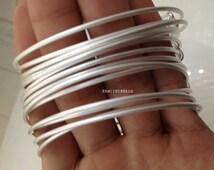 Brushed silver anti tarnish -50 pcs fabulous adjustable  basic bangles wired bracelet findings-F703-free shipping