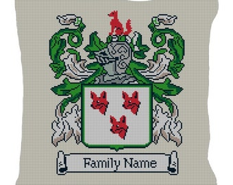Custom Family Crest Needlepoint Pillow Canvas
