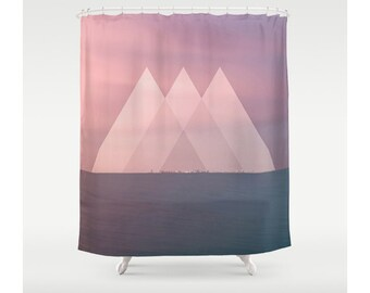 Pink Triangle Seascape Shower Curtain