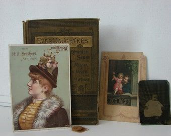 Antique collectible book Eve's Daughters with tin type picture, Paper ephemerae and a lock of blond hair