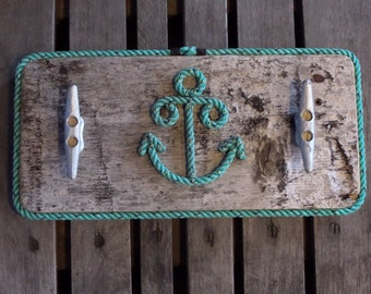 Coat Rack Reclaimed Distressed Wood Lined with Rope with 2 cleats and a Rope Anchor Nautical Decor Beach Coastal