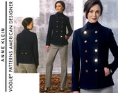 Womens Navy Pea Coat Pattern Uncut Vogue V1467 Anne Klein Double Breasted Nautical Military Jacket and Straight Leg Pants Sewing Patterns