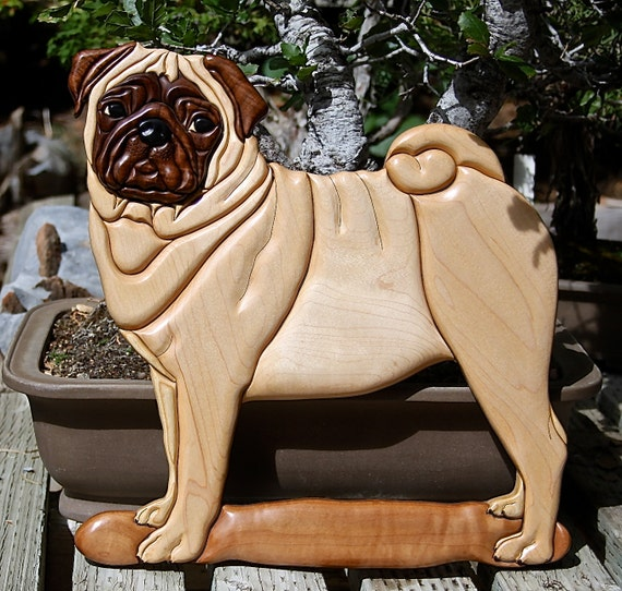 Hardwood Pug Intarsia Wall Art