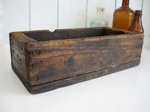 vintage wood box crate long narrow by oldstonefarmhouse on