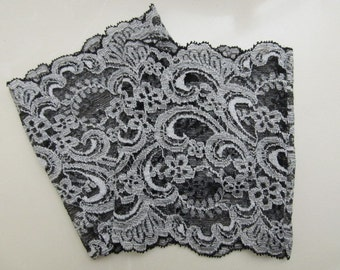 """Gorgeous Gray and Black Paisley 6 1/4"""" Wide Embroidered Stretch Lace Peek A Boots...Lace Boot Cuffs...Boot Toppers...Socks...New..."""