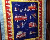 Northcott Firetruck quilt with Dalmatians.