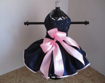 Dog Dress  XS Navy with Pink  By Nina's Couture Closet